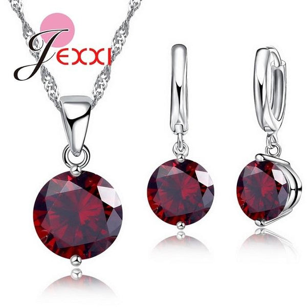 JEXXI Charm 925 Sterling Silver Jewelry Sets 8 Colors Cubic Zircon Pendant Set Anniversary Earrings Necklace Accessories