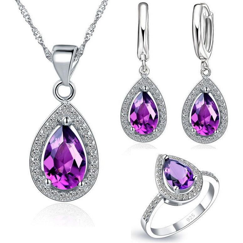 Jewish Girl Purple Water Drop wedding Jewelry Sets
