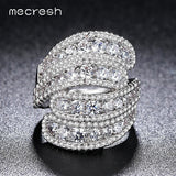 Mecresh 2017 Top CZ Vivid Ring Unique Shaped Exaggerated Rings for Wedding Silver Color Women Jewelry Anillos Mujer Gift JZ027