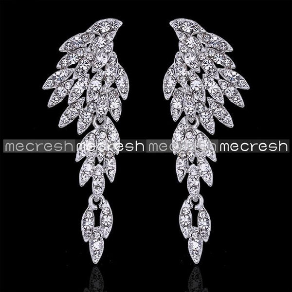 Mecresh 5 Colors Crystal Long Earrings for Women Eagle Silver / Black Color Bridal Wedding Earrings Fashion Jewelry 2017 EH209