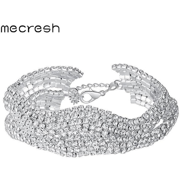 Mecresh Attractive Geometric Bridal Bracelets for Women Silver Color Crystal Link Party Ladies Pulseras Wedding Jewelry MSL339