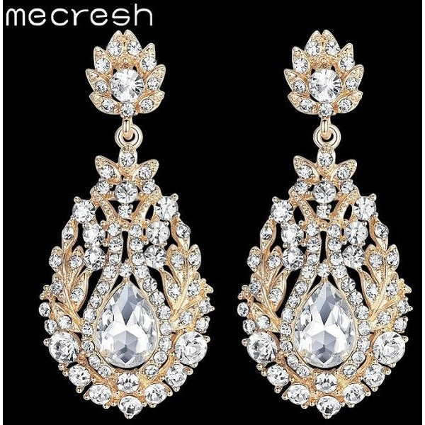 ... Mecresh Big Teardrop Crystal Bridal Long Earrings for Women Silver Gold Color  Wedding Party Hanging ... 22f11b33c755