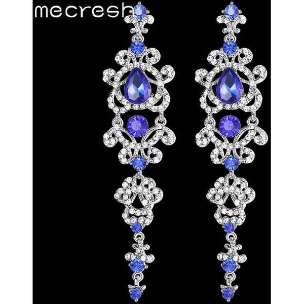 Mecresh Blue Silver Color Chandelier Crystal Long Earrings for Women  Rhinestone Hanging Earrings Bridal Wedding ... 55c08cc76d28