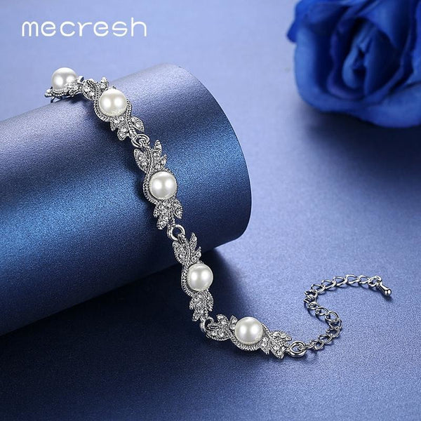 Mecresh Charming Simulated Pearl Bracelets for Women Silver/Gold-Color Leaf Crystal Pulseras Mujer Femme Wedding Jewelry MSL197