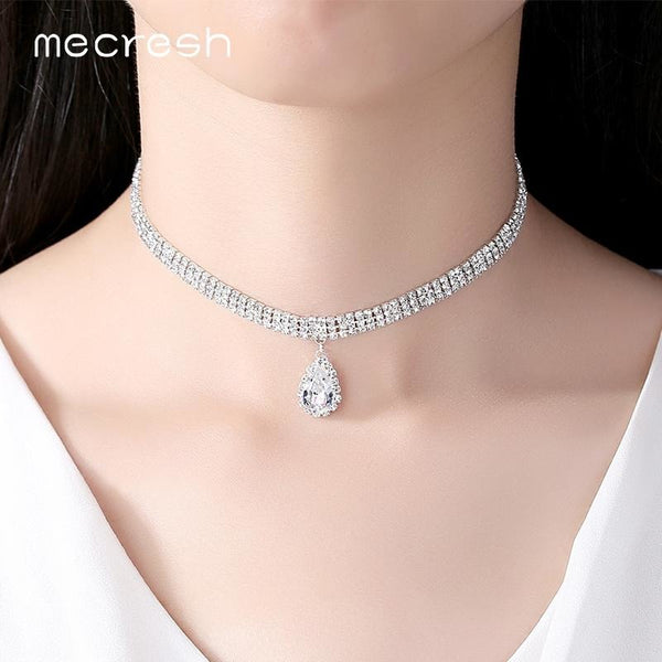 Jewish Girl 3 Row Teardrop Chokers Necklaces for Women