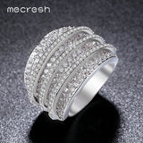 Mecresh Clear Cubic Zirconia Ring Unique Shaped Rings for Women Inlaid CZ Full Paved Silver Color Fashion Jewellery Gift JZ025