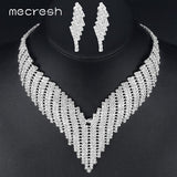 Mecresh Crystal African Jewelry Sets Silver Color Geometric Rhinestone Bridal Necklace Sets for Wedding Party Christmas TL011