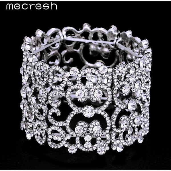 Mecresh Crystal Bracelets & Bangles for Women Silver Color Wide Friendship Bracelets Fashion Girls Jewelry Christmas Gift MSL209