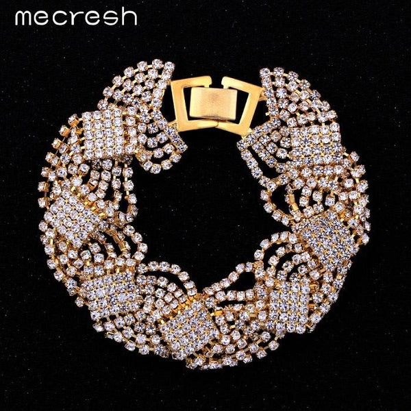 Mecresh Crystal Bracelets for Women Silver/Gold-Color Twist Pulseras 2017 Fashion Bridal Wedding Engagement Jewelry SL076