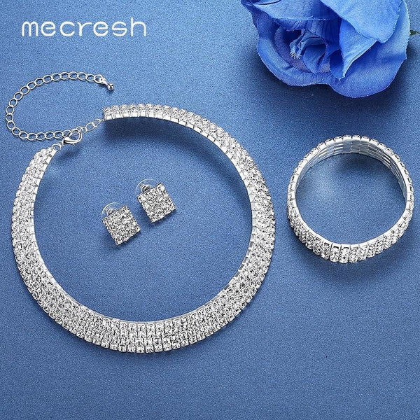 ... Mecresh Crystal Bridal Jewelry Sets Silver Color Rhinestone Necklace  Wedding Engagement Jewelry Sets for Women TL299 ... d58fb7c22063