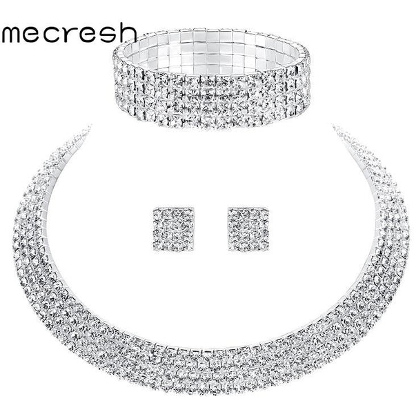 ... Mecresh Crystal Bridal Jewelry Sets Silver Color Rhinestone Necklace  Wedding Engagement Jewelry Sets for Women TL299 4193fac5eba2
