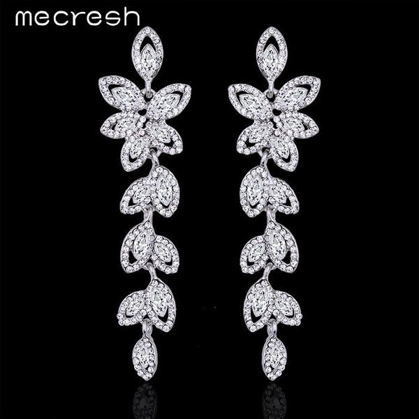 Mecresh Crystal Bridal Long Earrings for Women Silver Color Leaves Wedding Party Pendante Earrings Jewelry Christmas Gift EH282