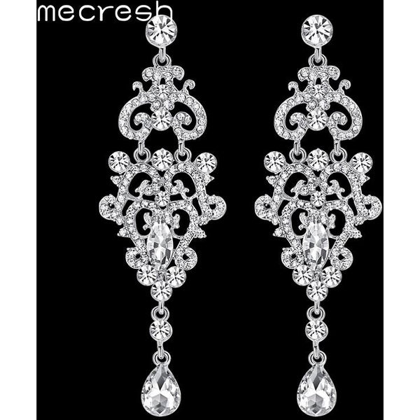 Mecresh Crystal Chandelier Long Earrings Silver Color Rhinestone Big Hanging Dangle Earrings Wedding Engagement Jewelry EH189