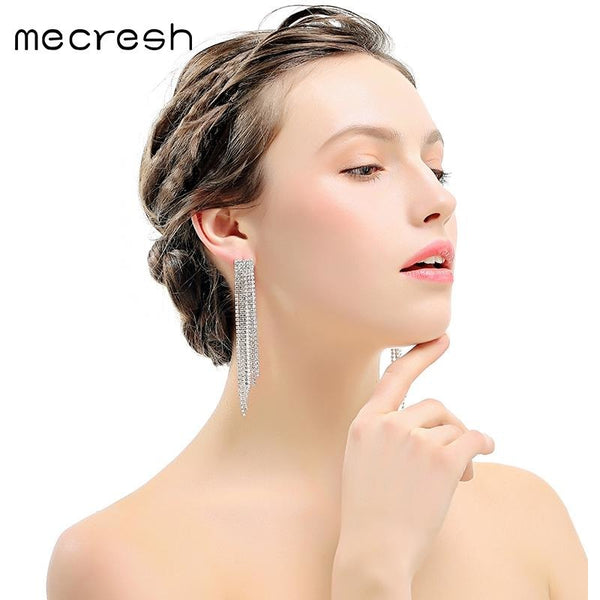 Mecresh Crystal Long Tassel Wedding Earrings Silver/Gold-Color Bridal Brincos 2017 Engagement Jewelry Accessories EH424
