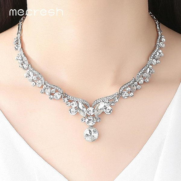 Mecresh Crystal Wedding Jewelry Sets for Women Silver Color Leaf Rhinestone Necklace Sets Bridal Engagement Jewelry Gift TL201