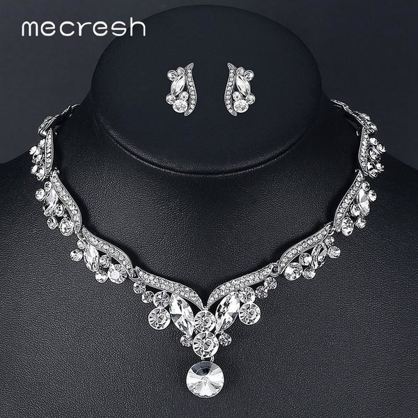 203813c396 Mecresh Crystal Wedding Jewelry Sets for Women Silver Color Leaf Rhinestone  Necklace Sets Bridal Engagement Jewelry Gift TL201