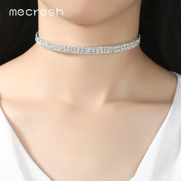 Mecresh Double Row Rhinestone Torques Choker Necklace Classic Elegant Silver Color Prom Wedding Jewelry for Women MXL093-2
