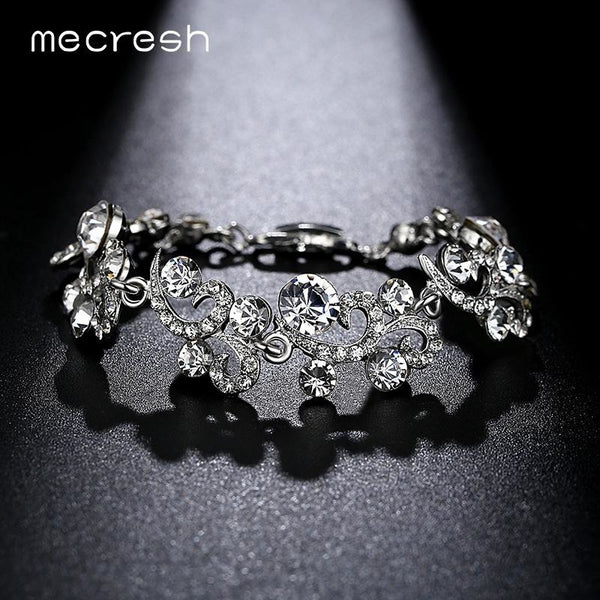 Mecresh Elegant Crystal Wedding Bracelets for Women Silver Color Rhinestone Friendship Pulseras Jewelry Christmas Gift MSL284