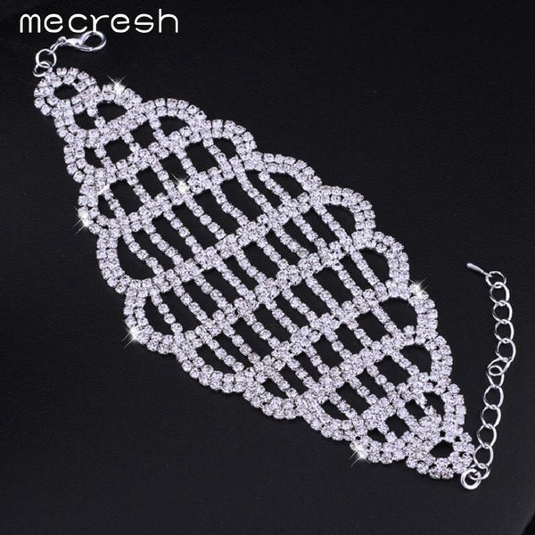 Mecresh Fashion Clear Crystal Silver Color Wedding Jewelry Bridal Accessories Net Chain & Link Bracelets for Women SL123