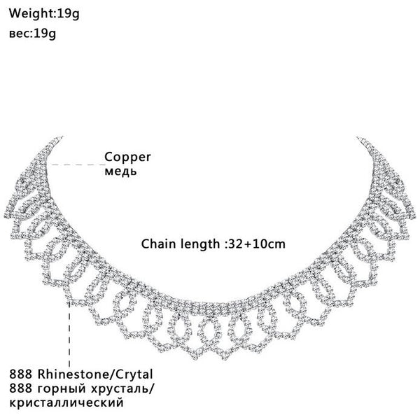 Mecresh Fashion Elegant Flower Rhinestone Chokers Necklaces for Women Attractive Crystal Wedding Chocker Collares Jewelry MXL133