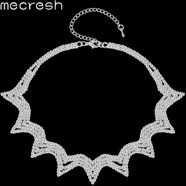 Mecresh Fashion Geometric Rhinestone Chokers Necklaces for Women Newest European Prom Chocker Collares Wedding Jewelry MXL132