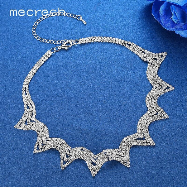 c8cd618921 Mecresh Fashion Geometric Rhinestone Chokers Necklaces for Women Newest  European Prom Chocker Collares Wedding Jewelry MXL132