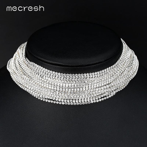 Mecresh Fashion Rhinestone Chokers Necklaces for Women Silver/Rose Gold Color Crystal Wedding Chocker Party Prom Jewelry MXL134