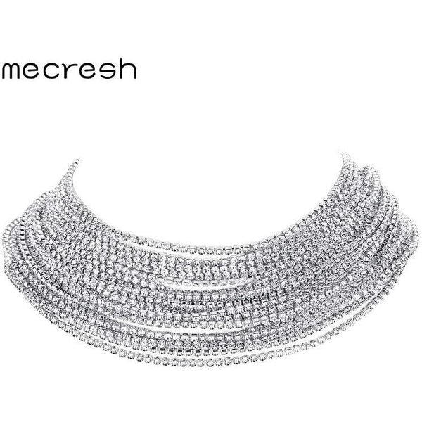 8d05317281 Mecresh Fashion Rhinestone Chokers Necklaces for Women Silver/Rose Gold  Color Crystal Wedding Chocker Party Prom Jewelry MXL134