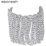 Mecresh Fashion Wave Bangles for Women Silver Color Rhinestone Bridal Wedding Bracelets & Bangles Christmas Party Jewelry MSL354