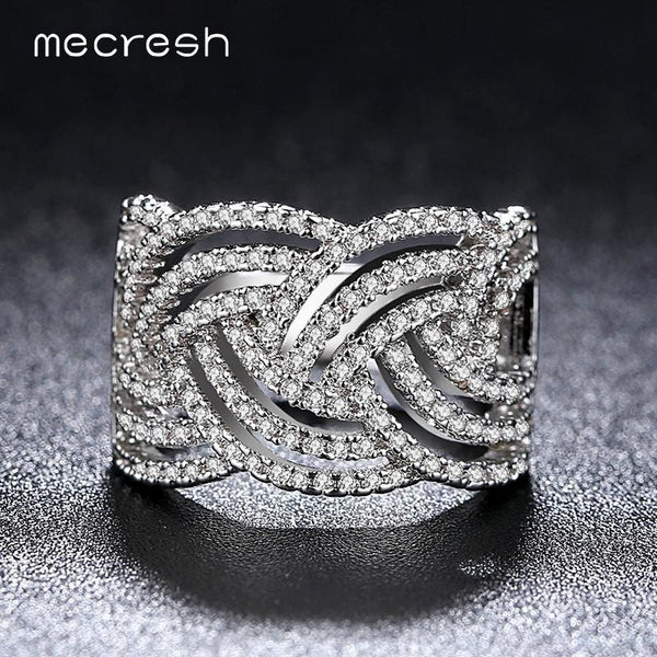Mecresh Female Rings Unique Ripple Handcraft Micro Paved Tiny AAA CZ Stone Wedding Rings for Women Fashion Jewelry JZ032