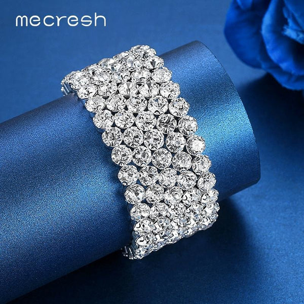 Mecresh Five Row Rhinestone Bracelets & Bangles for Women Clear African Pulseras Bridal Wedding Jewelry Christmas Gift SL106-5