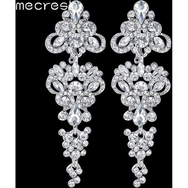 e097384474f7 Mecresh Gorgeous Chandelier Wedding Long Earrings for Women Silver Color  Crystal Bridesmaid Drop Earrings Prom Jewelry ...