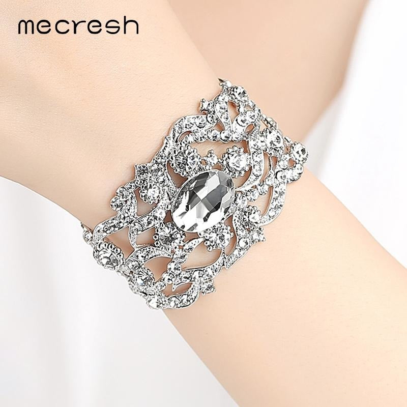 Mecresh Gorgeous Crystal Bridal Bracelet for Women Silver Color Rhinestone Link Chain Pulseira Feminina Wedding Jewelry SL093