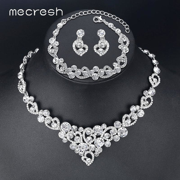 Mecresh Heart Crystal Wedding Bridal Jewelry Sets Silver Color Rhinestone Wedding  Jewelry Necklace Sets for Women ... aa030bf3f36f