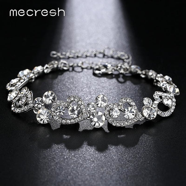 Mecresh Heart-Shape Charm Bracelets for Women Silver Color Crystal African Girls Pulseiras 2017 Wedding Christmas Jewelry MSL285