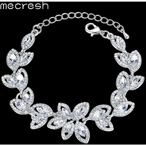 Mecresh Leaves Crystal Charm Bracelets for Women Silver Color Rhinestone Bridal Engagement Pulseras 2017 Wedding Jewelry SL046