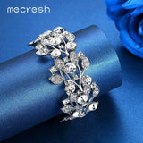 Mecresh Luxury Crystal Wedding Bracelets & Bangles for Women Silver Color Leaves Bridal African Bracelet Christmas Jewelry SL108