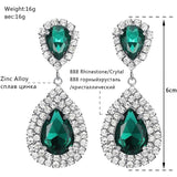 Mecresh Luxury Green Crystal Bridal Earrings for Women 6 Colors Teardrop Big Dangle Earrings Wedding Christmas Jewelry EH100