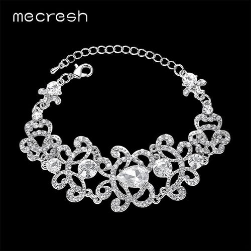 Mecresh Luxury Wedding Bracelets For Women Silver Color Teardrop Rhinestone Bridal Pulseras Fashion Christmas Party Gift SL032