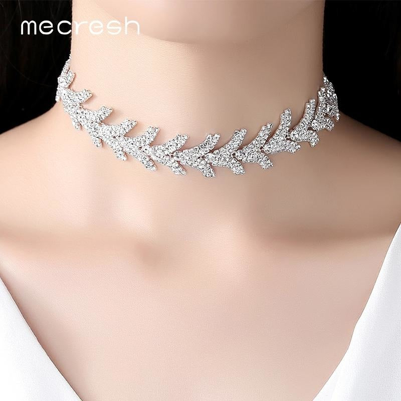 Mecresh Newest Leaves Rhinestone Chokers Necklaces For Girls Silver Co Jewish Girl