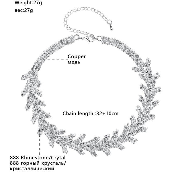 Mecresh Newest Leaves Rhinestone Chokers Necklaces for Girls Silver Color Trendy Christmas Party Chocker Wedding Jewelry MXL128