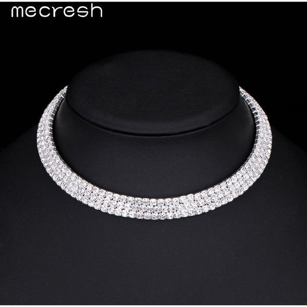 c8471cfc89 Mecresh Noble 5 Row Rhinestone Torques Necklace Fashion Silver Color  Classic Bridal Choker Jewelry Mother's Day Gift MXL062-5