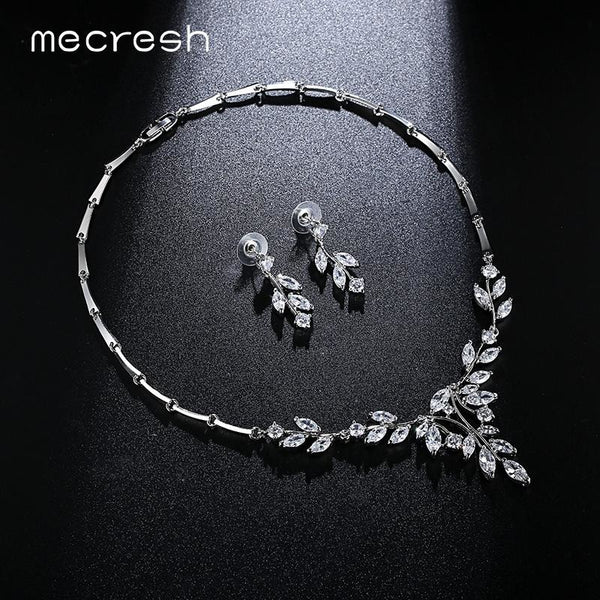 Mecresh Noble Cubic Zirconia Bridal Jewelry Sets for Women Vivid Leaf-Shape Necklace Sets Silver Color Wedding Jewelry MTL485