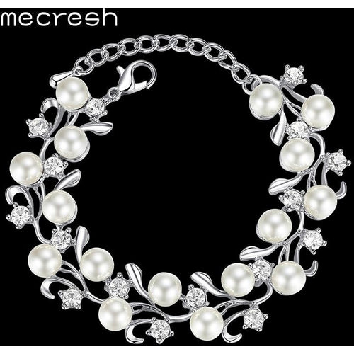 Mecresh Perfect Round Simulated Pearl Bridal Bracelets for Women Crystal Bridesmaid Bracelets Wedding Christmas Gift MSL321
