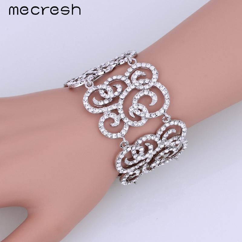 Mecresh Popular Leaf Crystal Bracelets for Women Silver Color Plant Rhinestone Friendship Pulseras 2017 Wedding Jewelry SL167