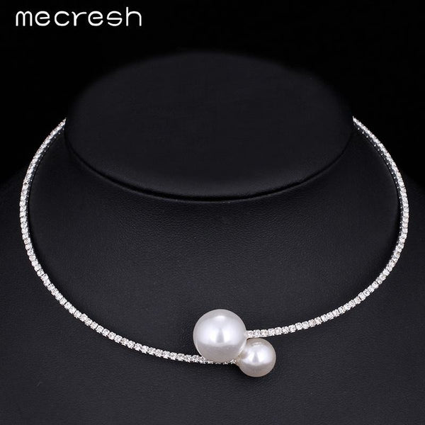 Mecresh Rhinestone Torques Necklace For Women Simple Cute Simulated Pearl Ball Choker Silver Color Wedding Jewelry MTL415-X