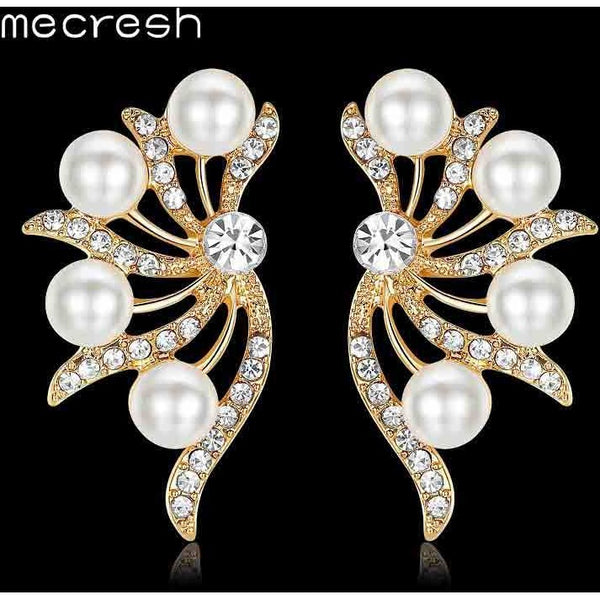 Mecresh Romantic Butterfly Stud Earrings for women 2017 Fashion Simulated Pearl Animal Earrings Crystal Wedding Jewelry MEH1025