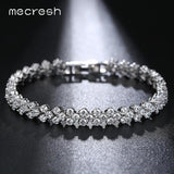 Mecresh Silver Color Charm Wedding Bracelets for Women Leaf-Shape Micro Cubic Zircon Pulseira Feminina Best Gift MSL211