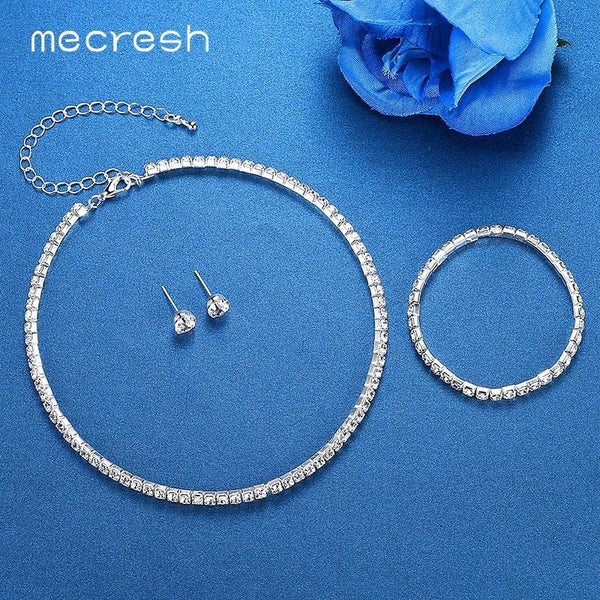 Mecresh Silver Color Circle Crystal Bridal Jewelry Sets African Beads Rhinestone Wedding Necklace Earrings Bracelet Sets 3TL002