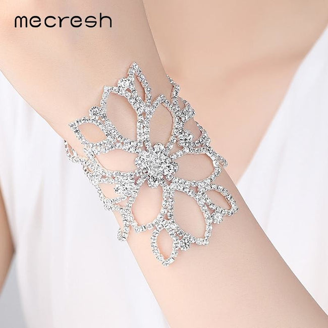 Mecresh Silver Color Crystal Bracelets for Women Floral Bridal Ankle Bracelets & Bangles Wedding Engagement Jewelry SL009
